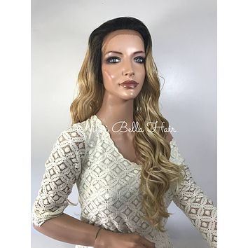Ombre' Light Honey Blond Curly  Human Hair Blend Multi Parting Lace Front Wig - Toni