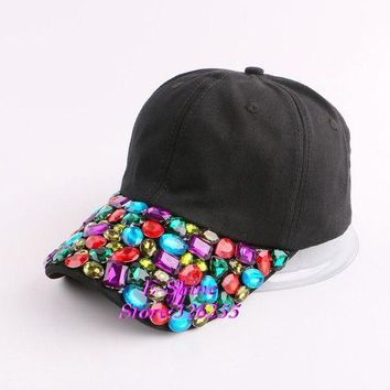 DCCKHY9 hot sale  pink fuchsia black rhinestone flower girl women snapback hats new fashion high quality hip hop denim baseball caps