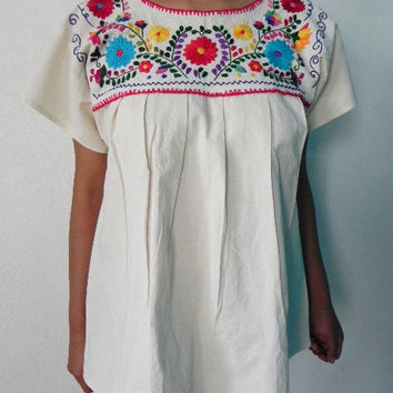 Mexican White Blouse Lovely Colorful Floral Embroidered Handmade Medium