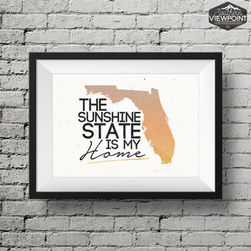 Florida Home Print, Florida Art, Florida Wall Art, Florida Printable Art, Florida State Poster, Digital Poster Print, Florida Wall Art
