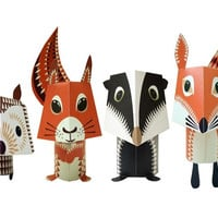 Forest Friends Paper Animals Kit. Suitable for anyone 5 years and over, although under 12s may need some adult help.