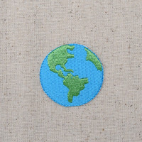 Planet Earth - Iron on Applique - Embroidered Patch - Ecology - 694726A