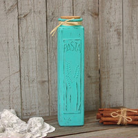 Pasta Jar, Shabby Chic, Tiffany Blue, Aqua, Glass, Painted, Distressed, Container