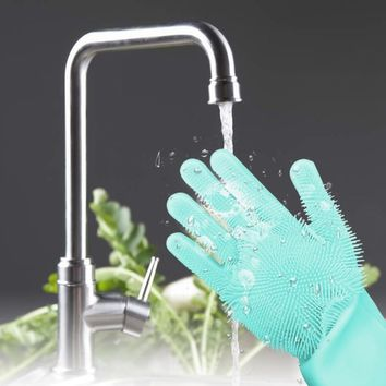 1pcs Pair Magic Silicone Scrubber Cleaning Gloves Dusting Dish Washing Pet Care Grooming Hair Car Insulated Kitchen Gadgets New