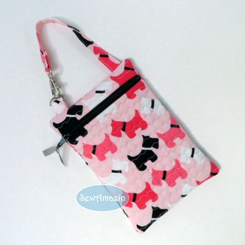 Scottish Terrier Quilted Gadget Case, Cell Phone Pouch, Pink or Red Scottie Dogs