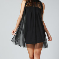 Black Sheer Overlay Swing Dress - Plus