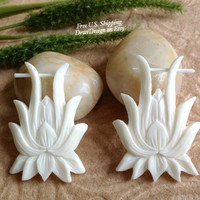 "Stick Post Earrings, ""Flowering Lily"" Naturally Organic, Bone, Hand Carved, Tribal"