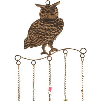 Owl Wind Chime Golden Wire Detailing In Colored Beads