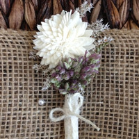 Handmade Wedding Corsages - Sola China Flower Corsages, German Statice Corsages, Dried Oregano Corsages, Country Rustic