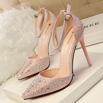 Women's Fashion Ultra Flash Diamond Wedding Shoes Shoes High-Heeled Shoes White Nightclub Crystal Shoe Single Shoes Bride Shoes [10761262415]