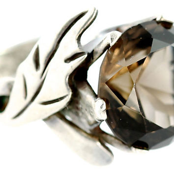 Large Mexican Smokey Topaz Ring Sterling Silver