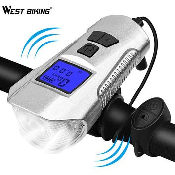 WEST BIKING Bicycle Electric Bell USB Rechargeable Handlebar Safety Light  Waterproof Cycling Stopwatch Computer Bike Speaker
