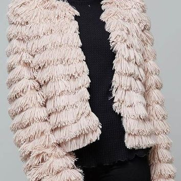 Open Front Faux Fur Jacket