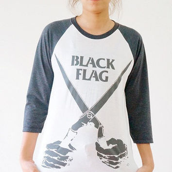 S,M,L -- Black Flag Shirt Rock Punk Shirt Baseball Tee Shirts Jersey Shirts Raglan Shirts Long Sleeve Tee Shirts Unisex Shirts Women Shirts