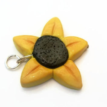 Charm ~ Sunflower Charm ~ Polymer Clay Charm ~ Necklace Charm ~ Bracelet Charm ~ Flower Art ~ Made to Order