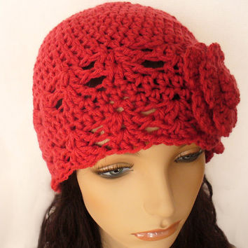 Cloche Hat 1920s Flapper Style Hat Crochet with Flower Salmon