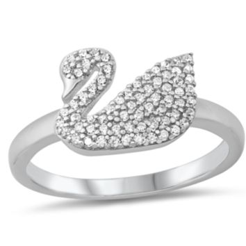 .925 Sterling Silver Swan CZ Ladies Ring Size 5-10