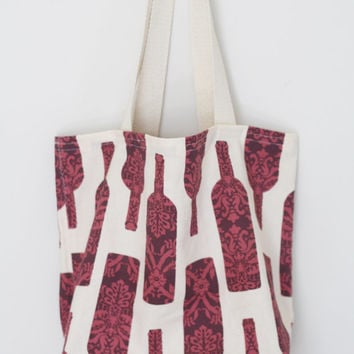 Wine Bottle Reusable Grocery Bag // Market Tote // Farmers Market Bag // Farmers Market Tote // Reusable Grocery Tote