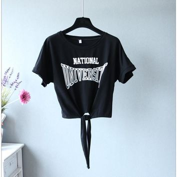 Tops and Tees T-Shirt Summer 2018 Western fashion Letters print women t-shirts novelty knotted design cool girls crop top tees   AT_60_4 AT_60_4