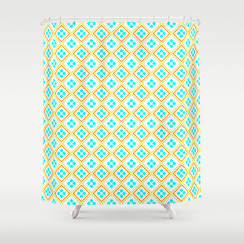 Aqua Flowers and Orange and Yellow Stripes Shower Curtain by Kat Mun