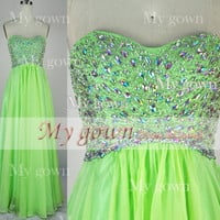 2014 Prom Dress Strapless A Line Beads Crystal Chiffon Prom Gown, Party Dress, Evening Gown,Gown Dress