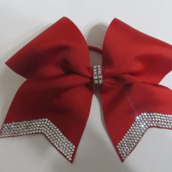 "red or black 3"" hair bows with crystal rhinestone tails"