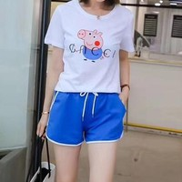 """Gucci"" Women Casual Fashion Multicolor Letter Print Short Sleeve Shorts Set Two-Piece Sportswear"