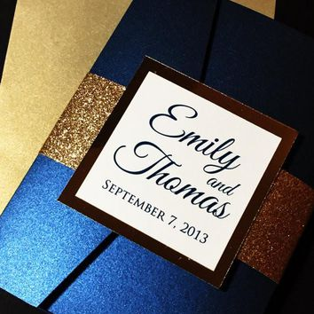 Navy and Gold Elegant Pocketfold Glitter Wedding Invitation - EMILY VERSION