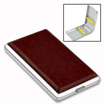 PU Cigarette Case Box Can Hold 10 12 14 16 18 20PCS Retail New 2017 Classic Leather Alloy Metal Holder Cigars EG5798