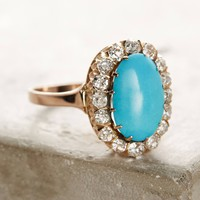 One-Of-A-Kind Vintage Turquoise Diamond Cluster Ring