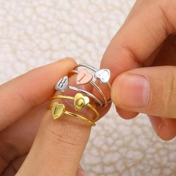 Fashion Gold Silver Rose Gold Color Heart Letters Rings For Women DIY Love Couple Ring Set Female Engagement Ring Party Jewelry