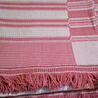 Vintage Hand Woven Bedspread Pillow Cover Pink White Sarah Key Patten 92 x 76 Panchosporch