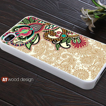 customized iphone 4 case iphone 4s case iphone 4 covers illustration classic red green flowers design