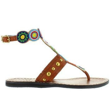 Mia Athena   Bright Multi Beaded/brown Leather Flat Thong Sandal