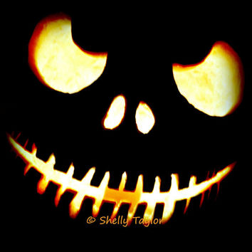 Pumpkin Photography - Jack Skellington, Illuminated - Halloween, Autumn, Fine Art, Spooky, Carved Pumpkin - Digital Download, Printable
