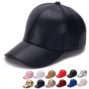 Trendy Winter Jacket HATLANDER Classic Plain PU baseball cap fashion blank no logo leather cap and hat for men and women AT_92_12
