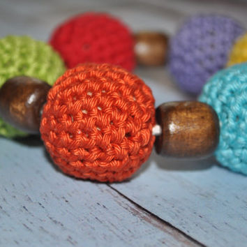 ON SALE Nursing/Teething Necklace and Teething Ring- Yellow, Turquiose, Orange, Green, Red, and Purple - Eco Baby Teething- Eco Mom Jewelry
