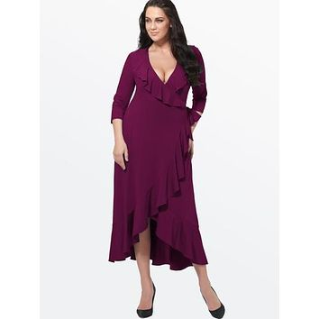 Plus Size Plain Falbala Lapel Women's Maxi Dress