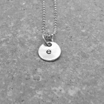 Tiny Initial Necklace, Letter e Pendant, Personalized Necklace, Hand Stamped Small Initial Pendant, Sterling Silver Jewelry