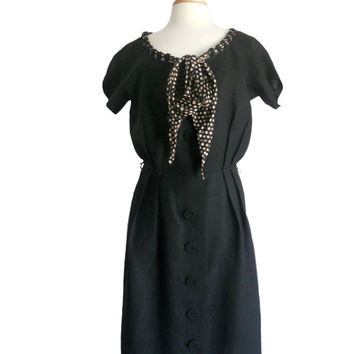 Vintage Dress Linen Black Large Button Down Design - Loop Neckline with Polka Dot Scarf - Gallina California - Pure Imported Linen Flaxspun