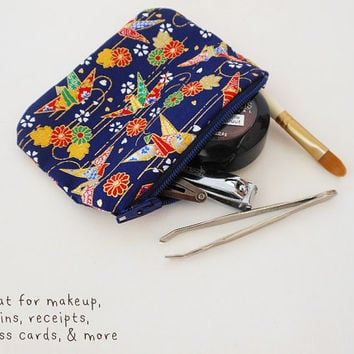 Japanese Coin Purse - Zippered Pouch - Small Coin Purse - Tiny Makeup Bag - Receipt & Coupon Holder - Japanese Fabric - Zipper Coin Purse