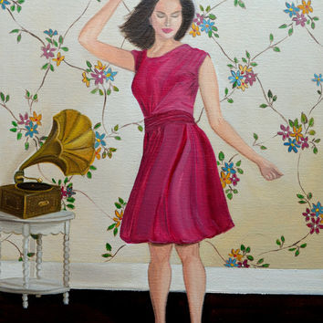 Still Life Painting, Oil Painting, Figurative Painting, Dancing Woman,Gramophone, Floral Wallpaper, Fashion Illustration,11 x14 Canvas Panel