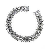Moselle Round CZ Cluster Silver Tennis Bracelet  – 7in