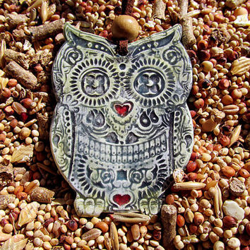 Pottery owl necklace sugar skull owl pendant ready to ship and wear
