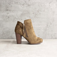 almond toe stacked heel vegan suede booties - olive