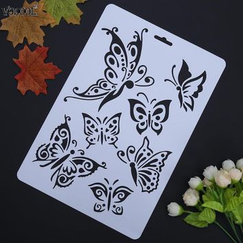 VODOOL Butterfly Hollow DIY Drawing Stencils Template Painting Art Craft Scrapbooking Cards Album Stencils Ruler School Supplies