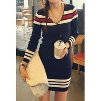 Casual Style V-Neck Long Sleeve Striped Splicing Women's Sweater Dress