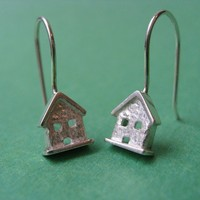 Tiny House Dangle Earrings by JDavisStudio on Etsy