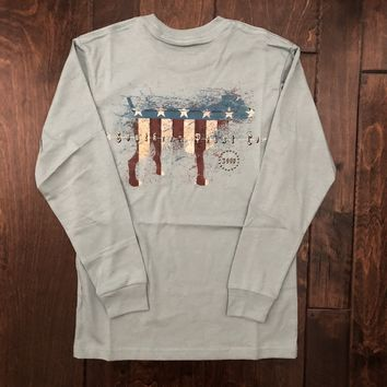 Southern Point - Youth American Pride LS Tee - Blue
