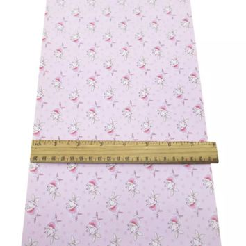 Pink ballerina bunny faux leather fabric sheet